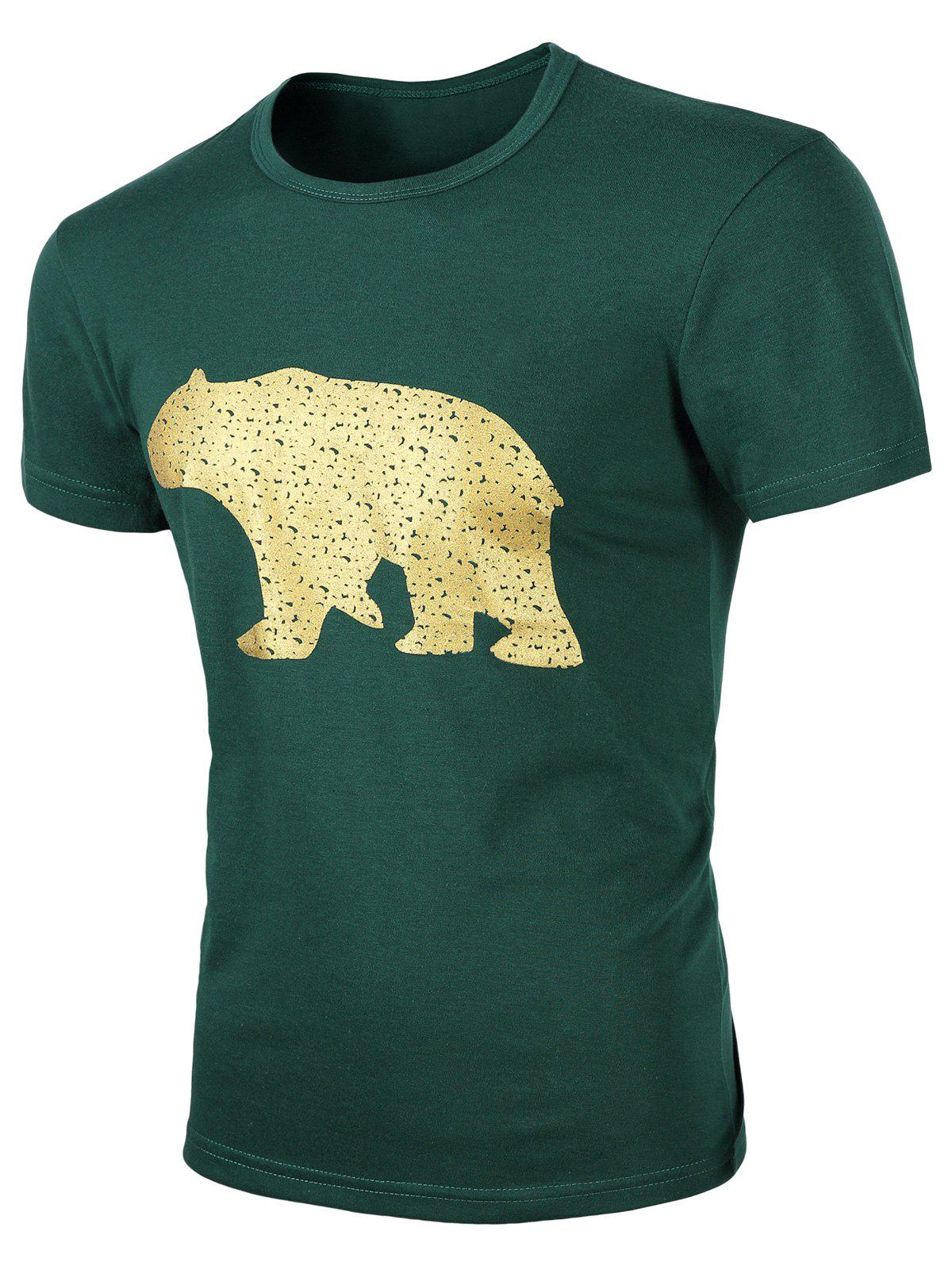 Men's Round Neck Animal Print Short Sleeves T-Shirt - BLACKISH GREEN 3XL