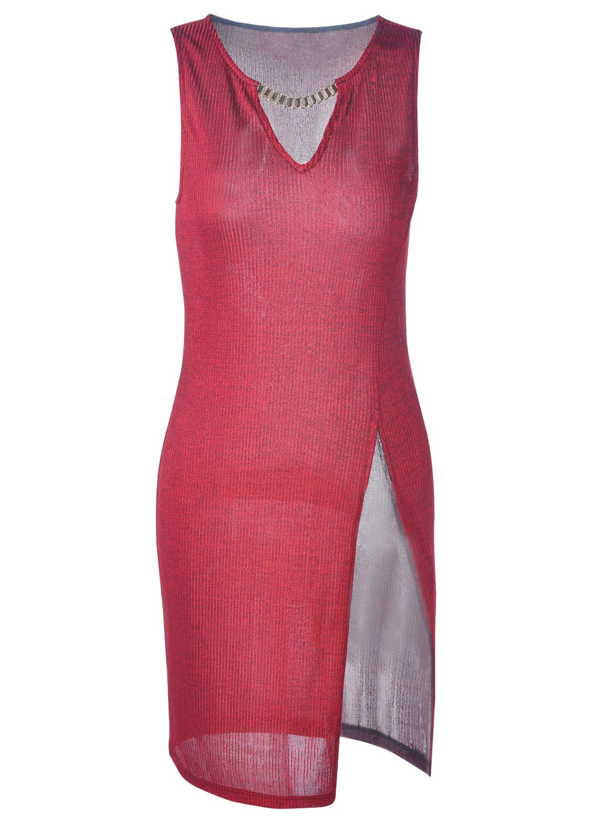 Fashionable Fitted Slit V-Neck ini Dress For Women - WINE RED M