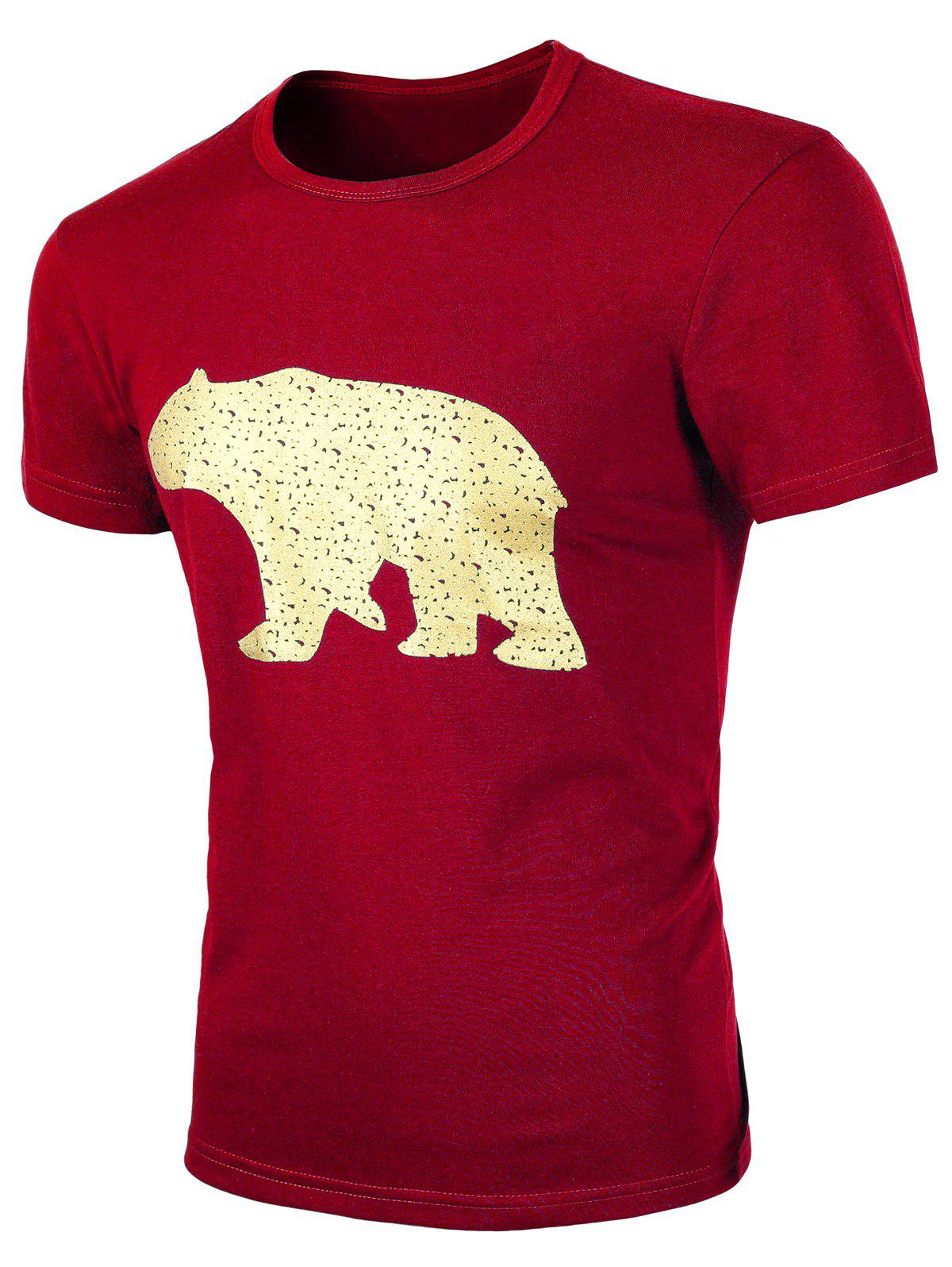 Men 39 s round neck animal print short sleeves t shirt wine for Wildlife t shirts wholesale