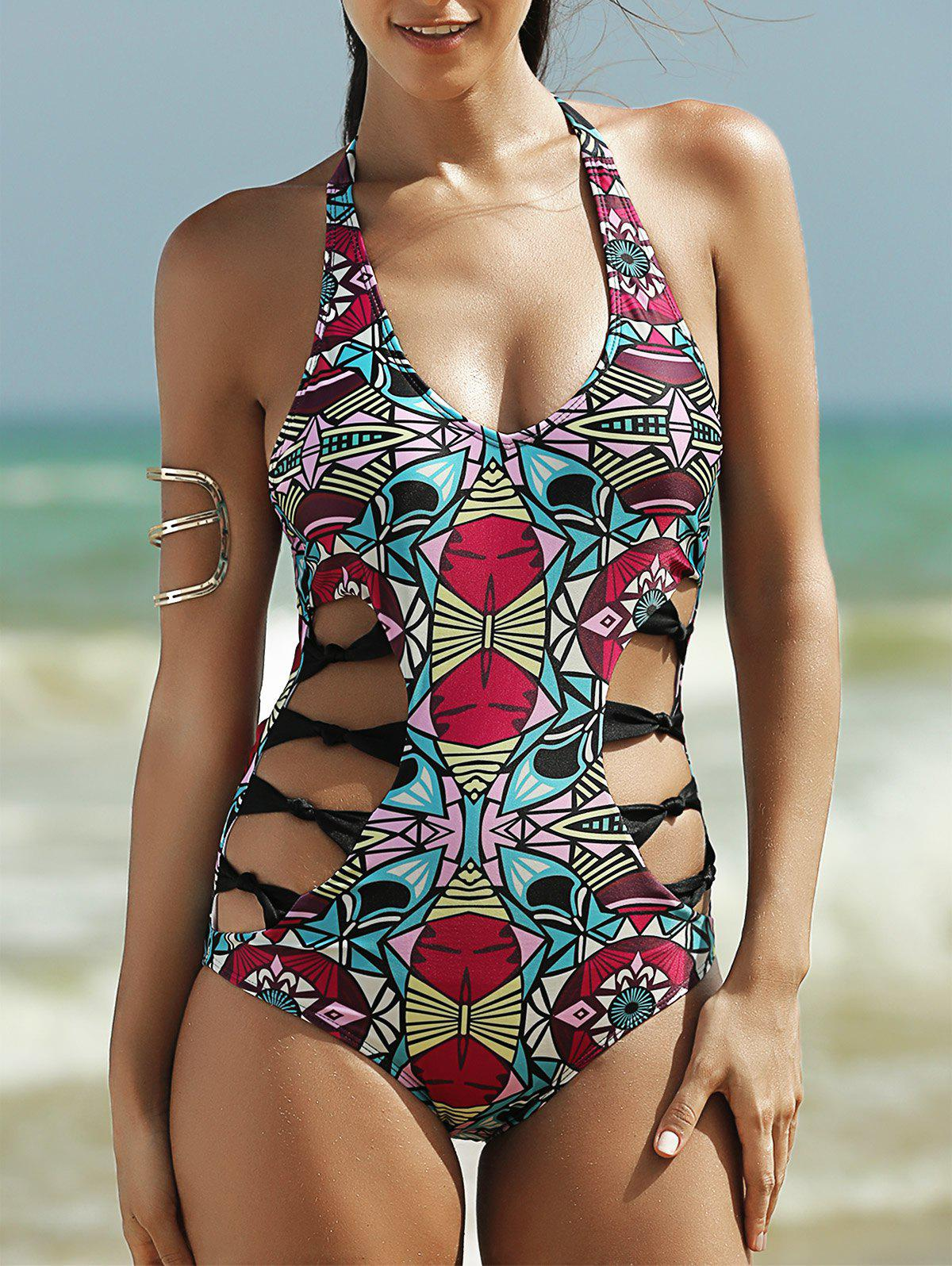 Alluring Women's Halter Full Print Hollow Out One-Piece Swimsuit - COLORMIX XL