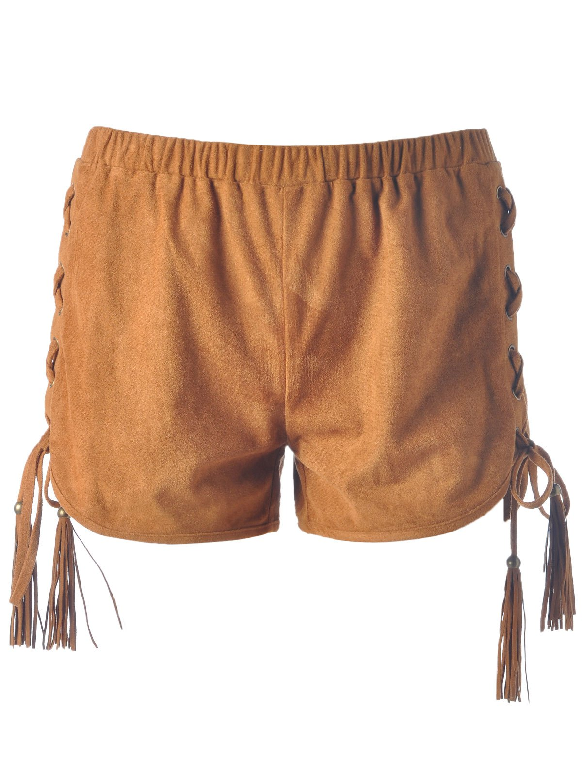 Stylish Lace-Up Pure Color Shorts For Women - CAMEL S