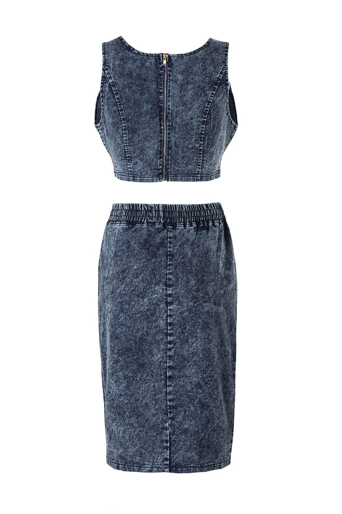 Sexy Crop V-Neck Bleu Zippered Denim Top + Side jupe fendue femmes s 'Twinset - Denim Bleu L
