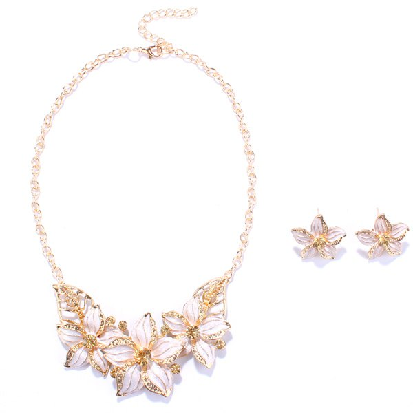 A Suit of Blossom Alloy Necklace and Earrings - WHITE