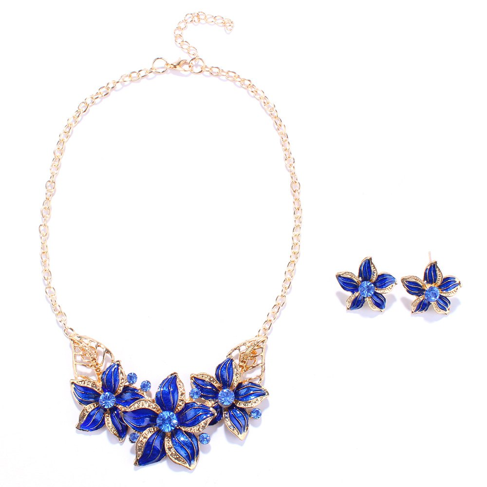 Rhinestone Blossom Necklace and Earrings - BLUE