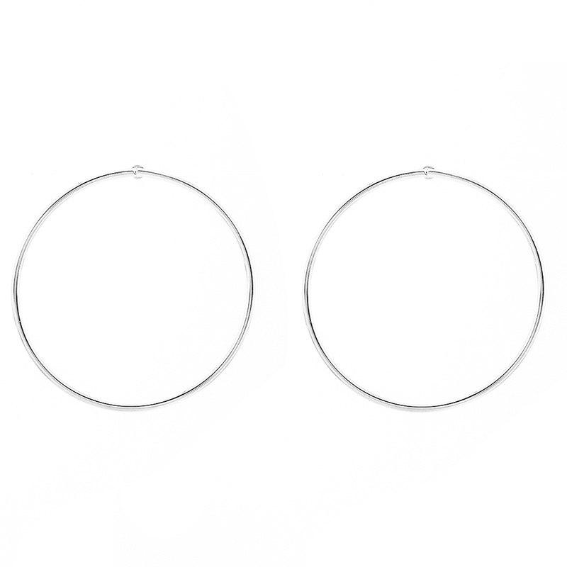 Pair of Simple Solid Color Circle Stud Earrings For Women