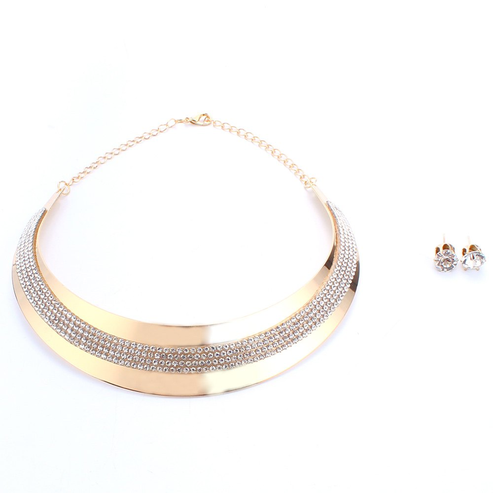 A Suit of Trendy Rhinestoned Necklace and Earrings Jewelry For Women - GOLDEN
