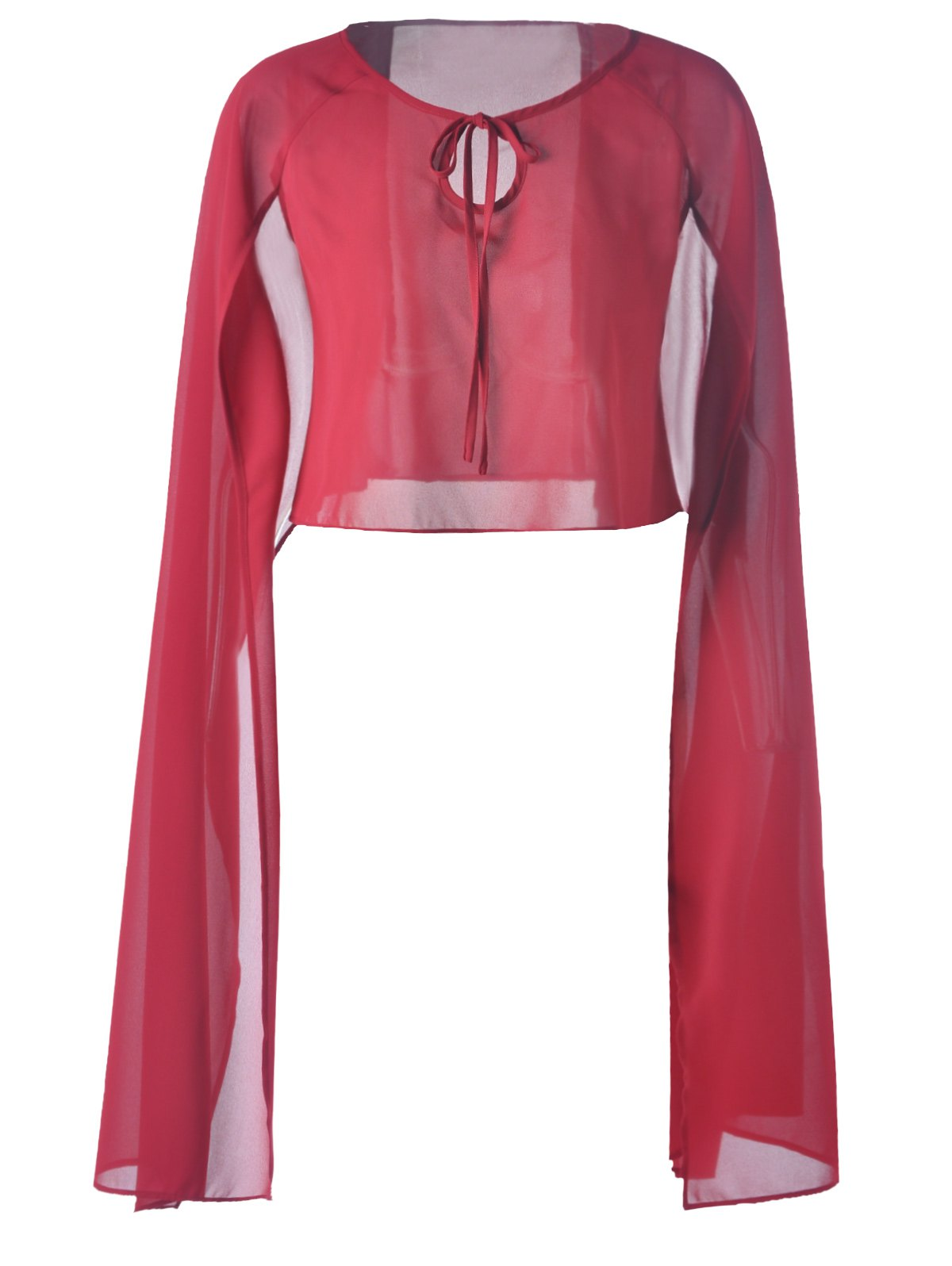 Fashionable Pure Color Chiffon Top For Women - DEEP RED S