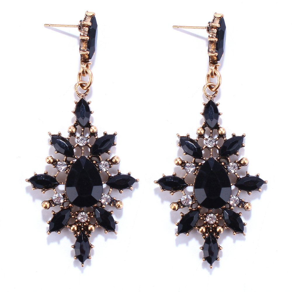 Pair of Water Drop Rhinestone Embellished Earrings - BLACK
