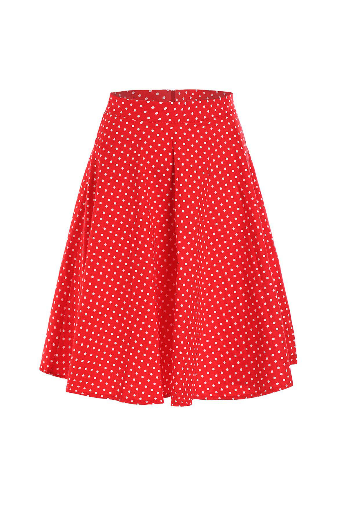 Charming Polka Dot Printed High Waist Ball Skirt For Women - S RED
