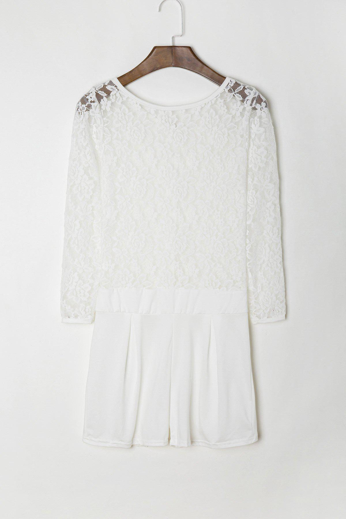 Stylish See-Through Round Neck Lace Spliced Long Sleeve Romper For Women - WHITE XL