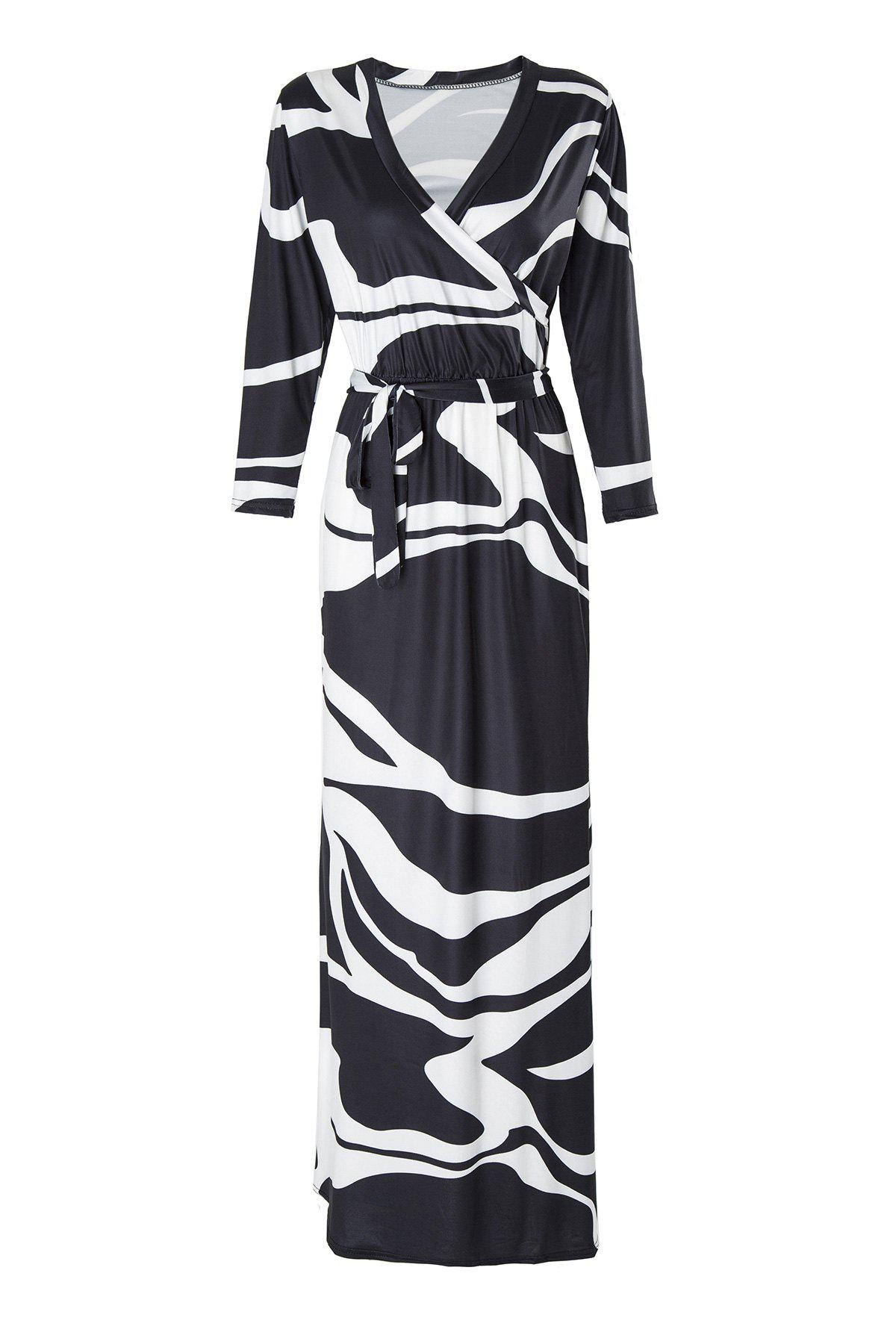 Stylish Plunging Neck 3/4 Sleeve Black and White Women's Maxi Dress - WHITE/BLACK S