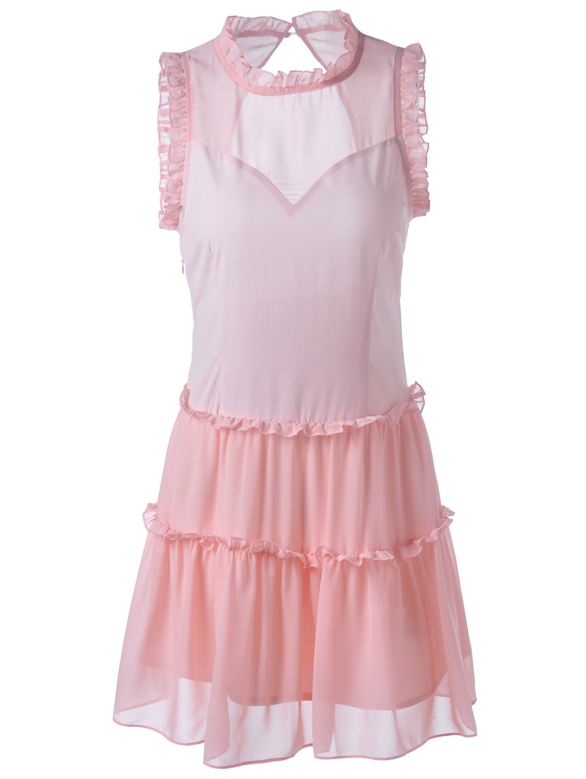 Sweet Women's Fitted Ruffle Neck Solid Color Knee-Length Dress - LIGHT PINK S
