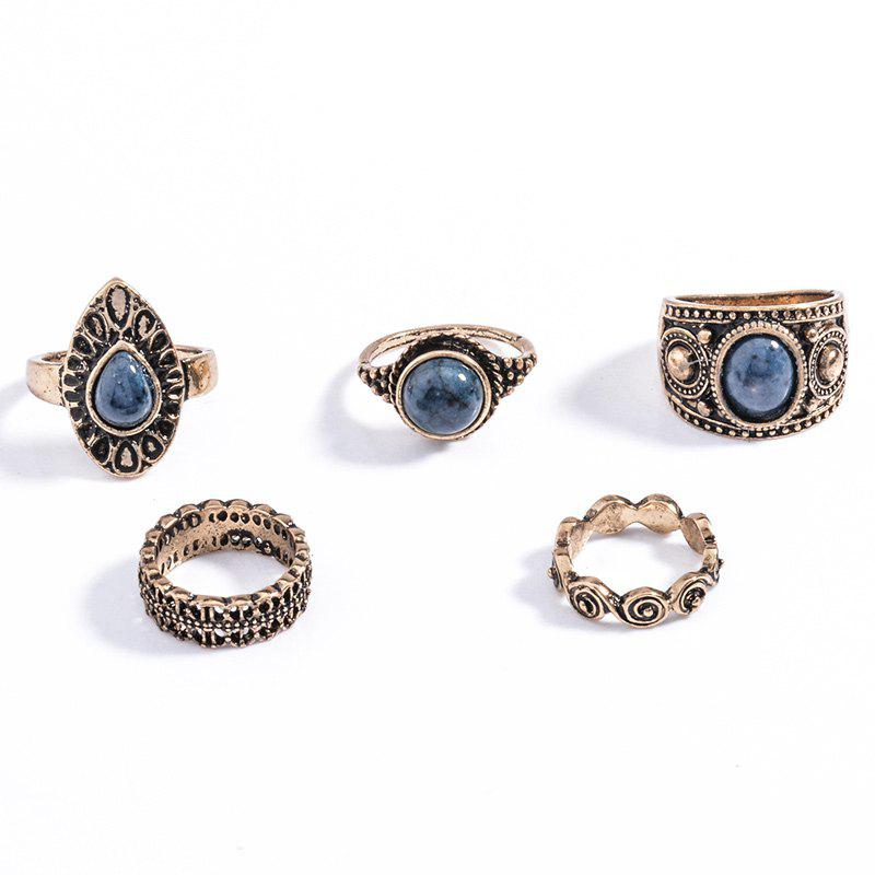 5 Pcs/Set Faux Gem Embossed Rose Rings vintage 7 pcs set faux turquoise embossed rings for women