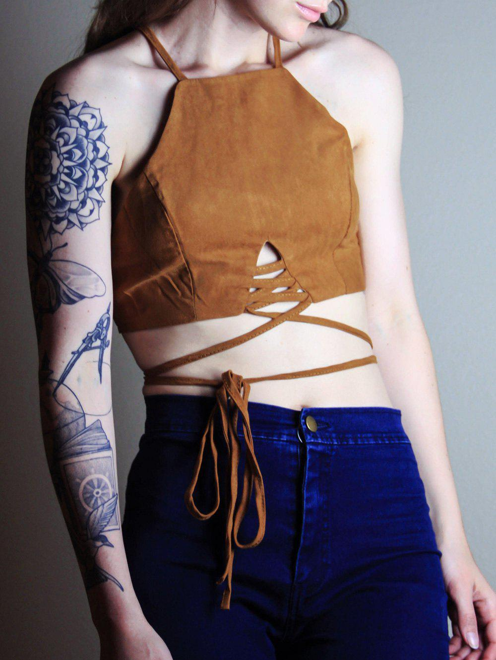 Alluring Spaghetti Strap Lace-Up Solid Color Women's Crop Top - COFFEE S