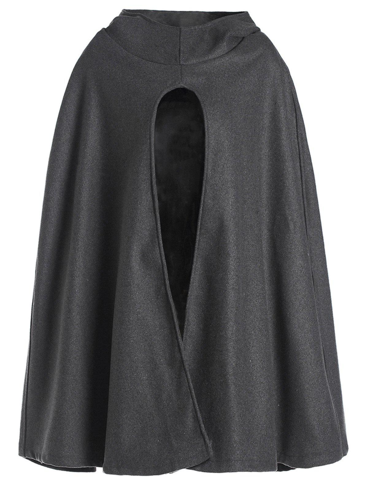 Fashionable Solid Color Hooded High Slit Loose Cloak For Women - GRAY M