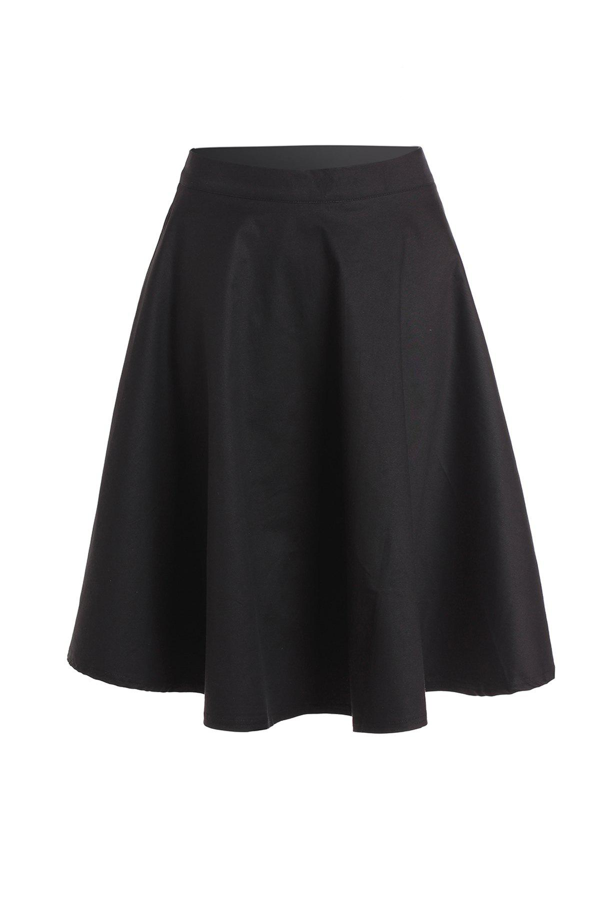 Noble Solid Color High Waist A-Line Ball Skirt For Women - BLACK M