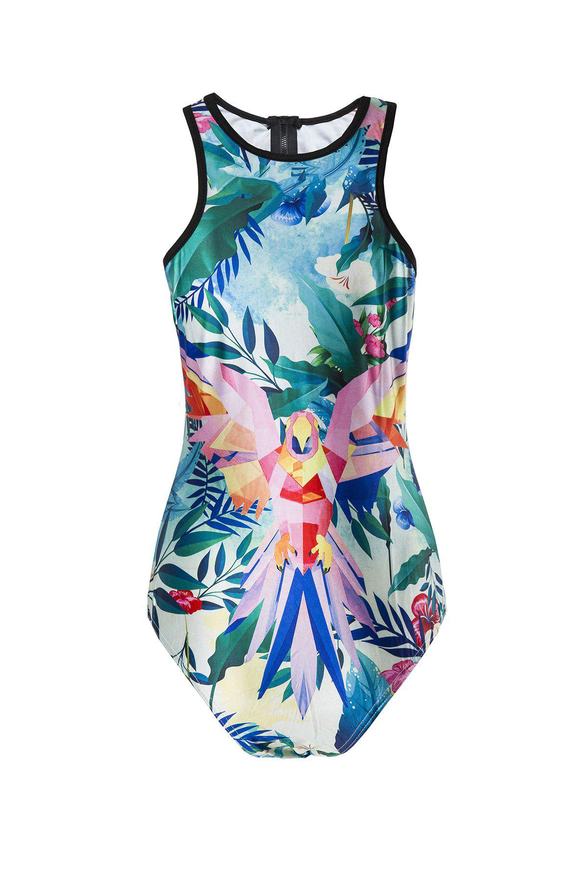 Sexy Back Zippered Tropical Printed One-Piece Swimwear For Women - GREEN L