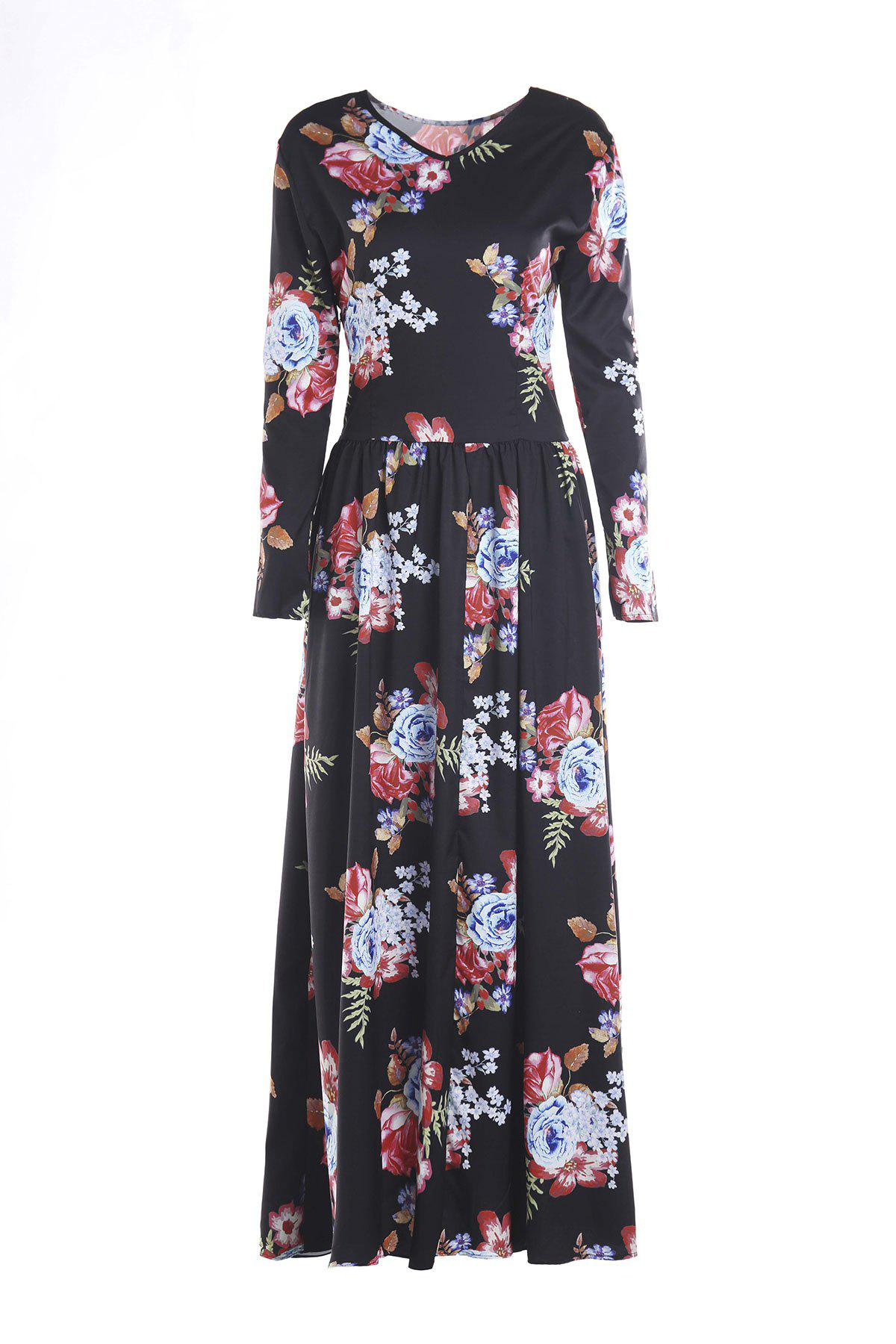 Long Sleeve Maxi Floral Print Dress - BLACK L