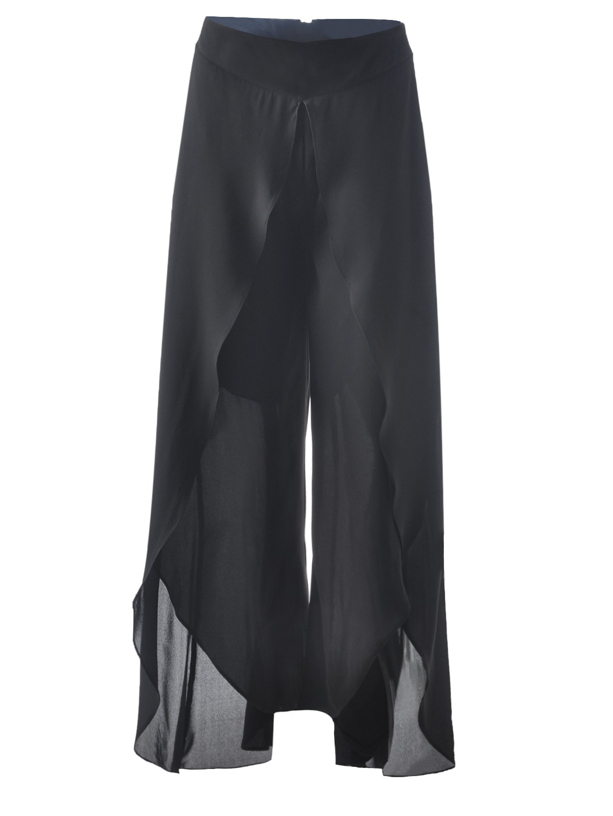 Fashionable Black Irregular Pants For Women - BLACK S
