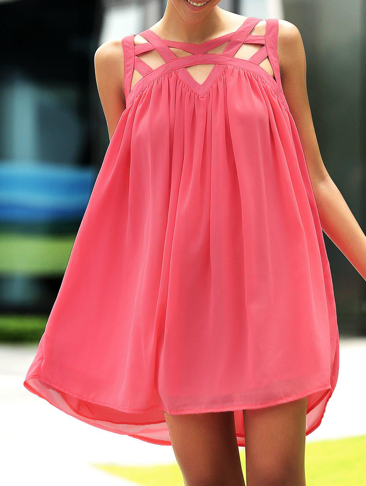 Stylish Round Neck Sleeveless Hollow Out Design Summer Dress For Women - WATERMELON RED S