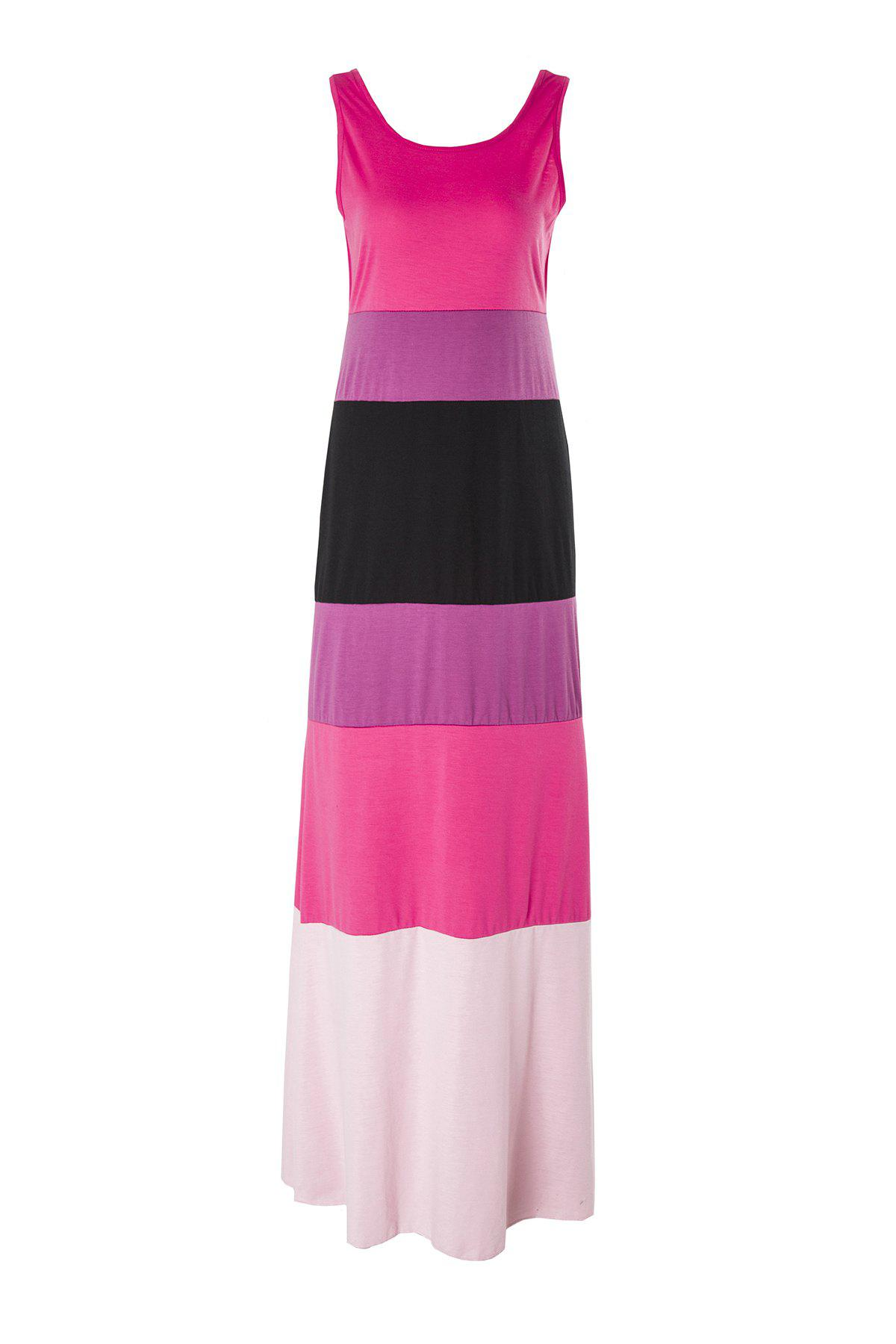 Stylish Scoop Collar Sleeveless Hit Color Striped Women's Dress - ROSE S