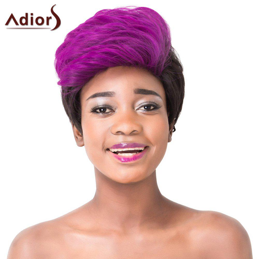 Stylish Purple Ombre Black Capless Short Fluffy Straight Synthetic Adiors Wigs For Women - OMBRE