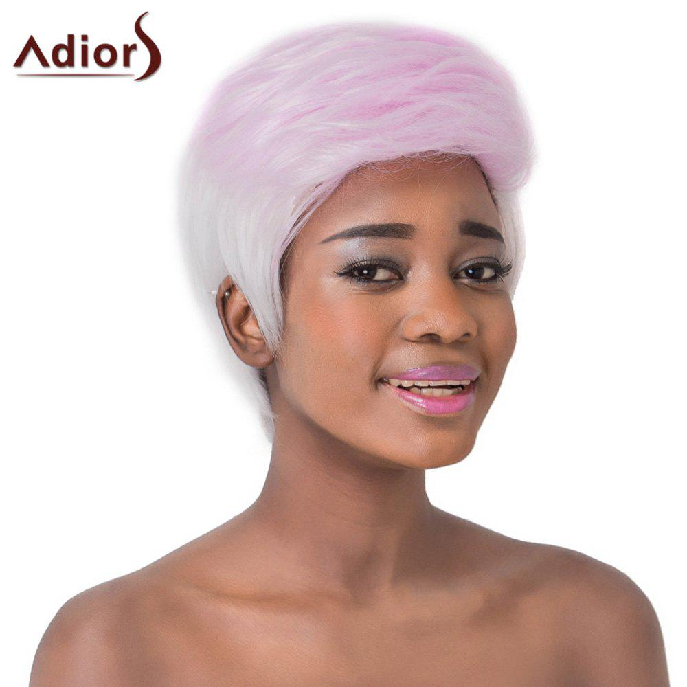 Fluffy Straight Capless Nobby Pink Ombre White Short Synthetic Adiors Wig For Women - OMBRE