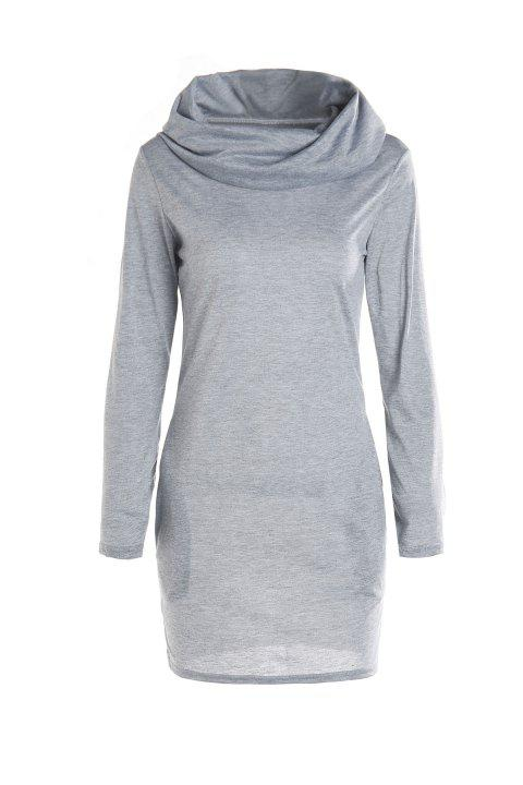 Stylish Hooded Long Sleeve Bodycon Solid Color Women's Dress - GRAY M