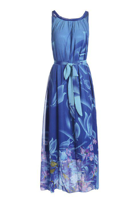 Bohemian Women's Round Collar Flower Print Sleeveless Dress - DEEP BLUE 6XL