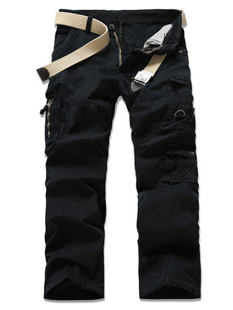 Casual Solid Color Men's Cargo Pants - BLACK 38