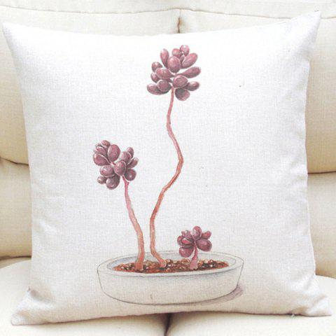 Creative Succulent Bonsai Pattern Square Shape Flax Pillowcase (Without Pillow Inner) - WHITE