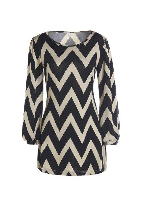 Full Sleeve Zig Zag Dress - KHAKI M