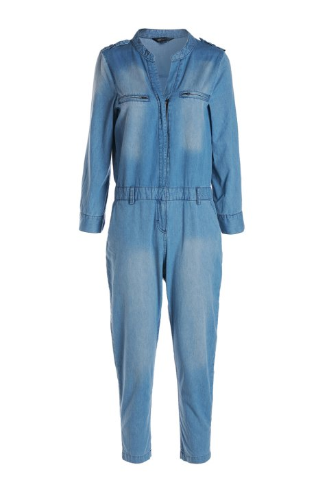 Stylish V Neck Long Sleeve Blue Denim Women's Jumpsuit - BLUE S