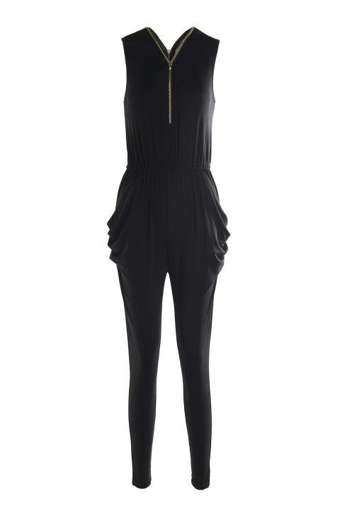 Stylish Plunging Neck Sleeveless Zipper and Pocket Design Women's Black Jumpsuit - BLACK XL