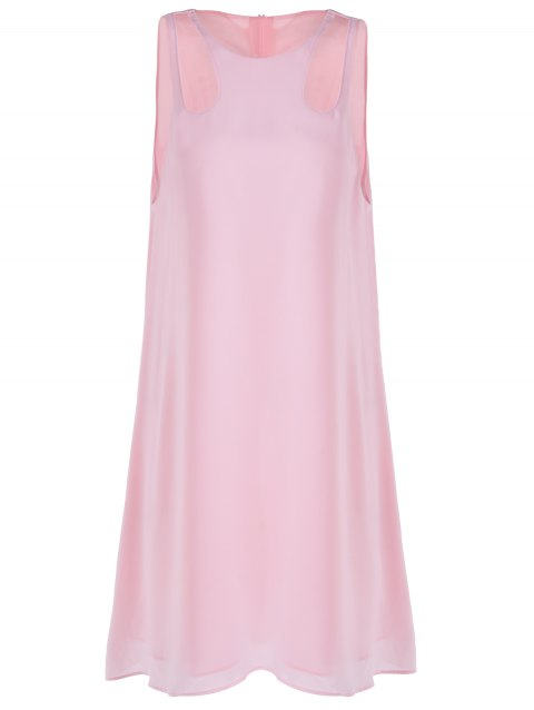 Sweet Cut-Out Round Collar Sleeveless Dress For Woman - PINK XL