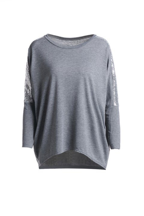 Refreshing Glitter Sequin Spliced Solid Color Blouse For Women - GRAY XL
