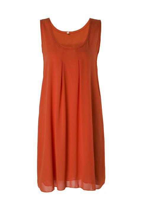 Casual Round Neck Sleeveless Solid Color Women's Sundress - ORANGE S
