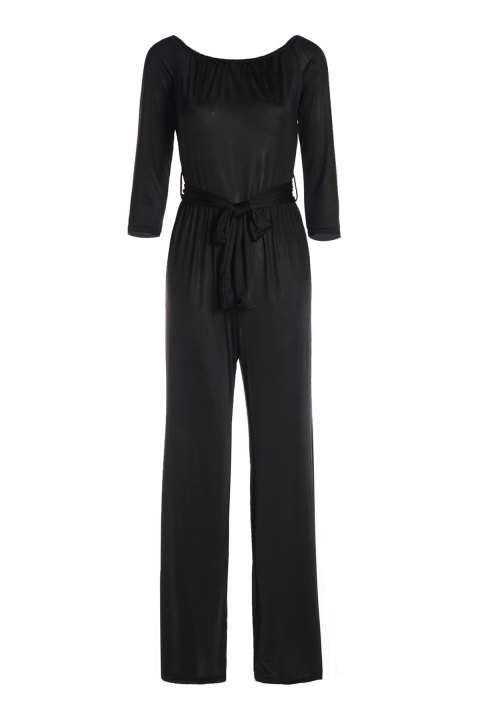ca32f2e987b9 Sexy Long Sleeve Off-The-Shoulder Solid Color Wide Leg Women s Jumpsuit -  BLACK