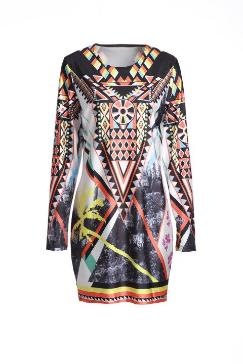 Retro Style Long Sleeve Geometric Printed Bodycon Dress For Women - COLORMIX XL