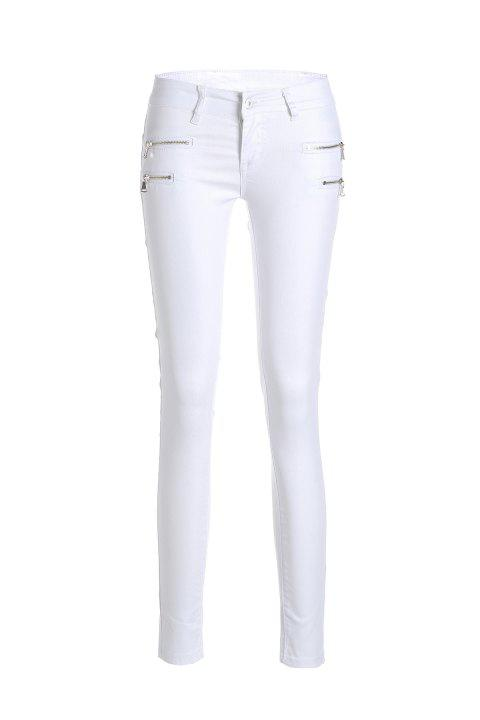 Stylish Low-Waisted Slimming Zippered Women's Pants - WHITE S
