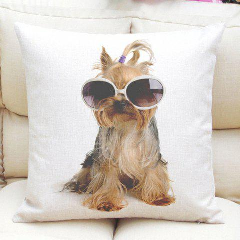 Cute Sunglasses Puppy Pattern Square Shape Flax Pillow Case (Without Pillow Inner) - COLORMIX