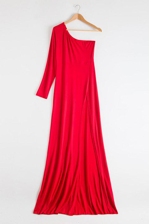 Noble One-Shoulder Solid Color Long Sleeve Slit Maxi Dress For Women - RED 2XL