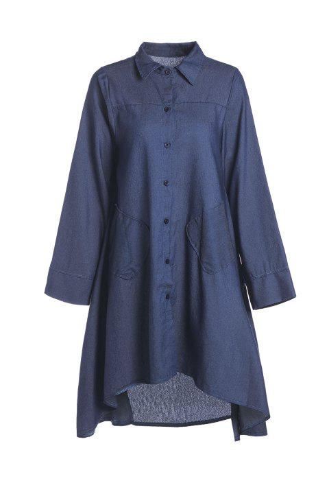 Stylish Shirt Collar Long Sleeve Denim Solid Color High-Low Hem Women's Dress - DEEP BLUE XL