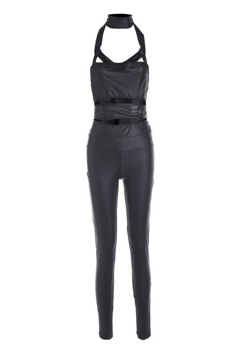 Sexy Black Faux Leather Off-The-Shoulder Sleeveless Women's Jumpsuit - BLACK L