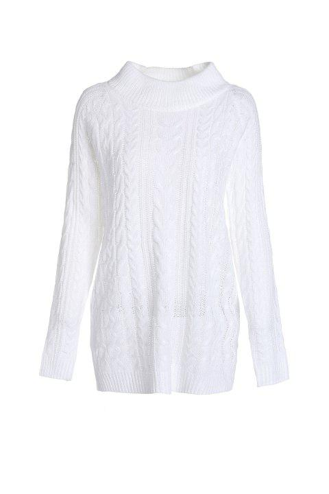 Mock Neck Long Sleeve Loose Fitting Women's Sweater - WHITE S