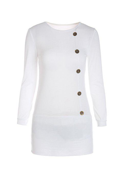 Mini Buttoned Long Sleeve Fitted Dress - WHITE M