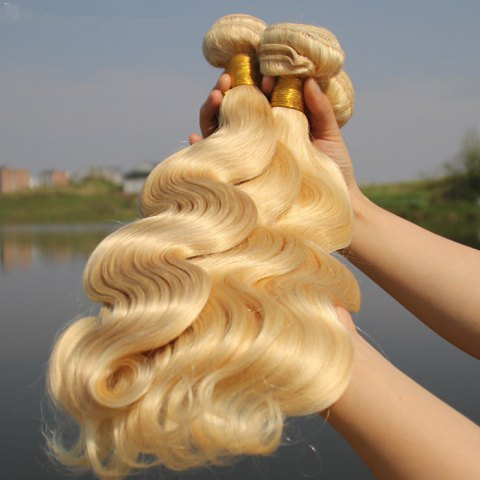 Women's 1 Pcs 7A Virgin Hair Wavy Brazil Human Hair Weave - BLONDE 613 24INCH