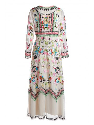 0728d1b3ab Gorgeous Round Neck Long Sleeve Floral Embrodery Women s Evening Dress