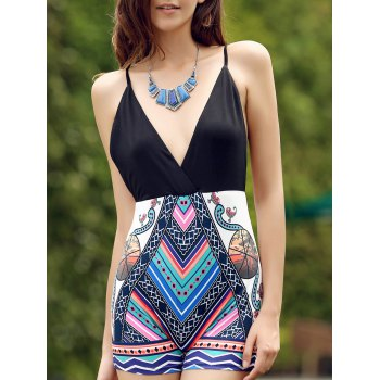 Sexy Spaghetti Strap Sleeveless Criss-Cross Printed Women's Romper