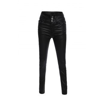 Brief Women's Buttoned Black PU Leather Pants